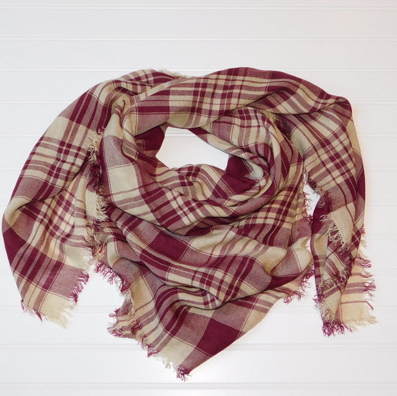 Soft Square Plaid Scarf - Garnet/Gold