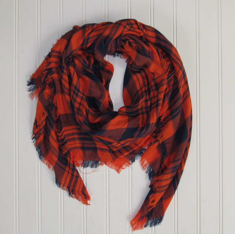 Soft Square Plaid Scarf - Navy/Orange