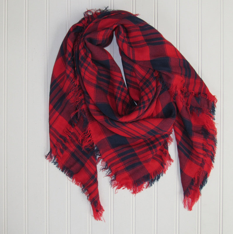 Soft Square Plaid Scarf - Navy/Red