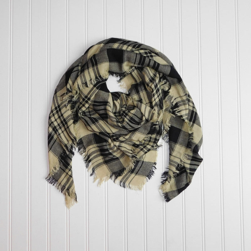 Soft Square Plaid Scarf - Black/Old Gold