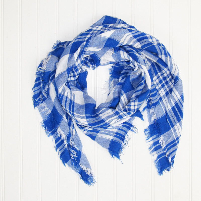 Soft Square Plaid Scarf - Royal Blue/White