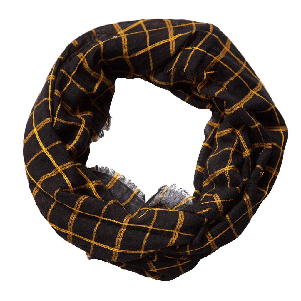Lightweight Plaid Infinity - Black Gold