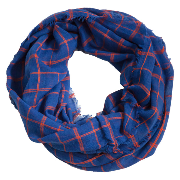 Lightweight Plaid Infinity - Blue Orange