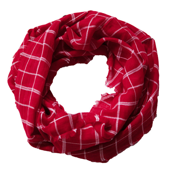 Lightweight Plaid Infinity - Crimson White