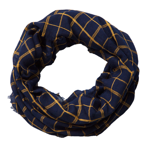 Lightweight Plaid Infinity - Navy Gold