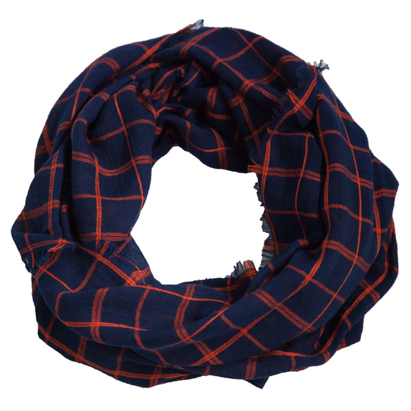 Lightweight Plaid Infinity - Navy Orange
