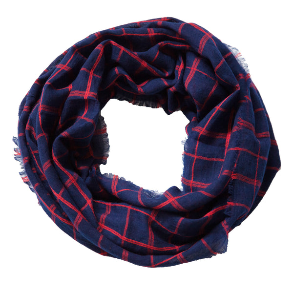 Lightweight Plaid Infinity - Navy Red