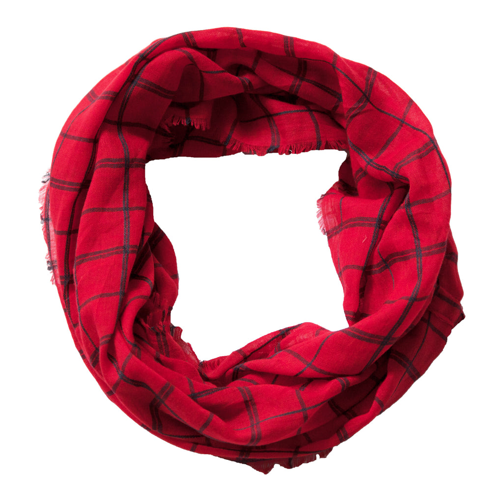 Lightweight Plaid Infinity - Red Black