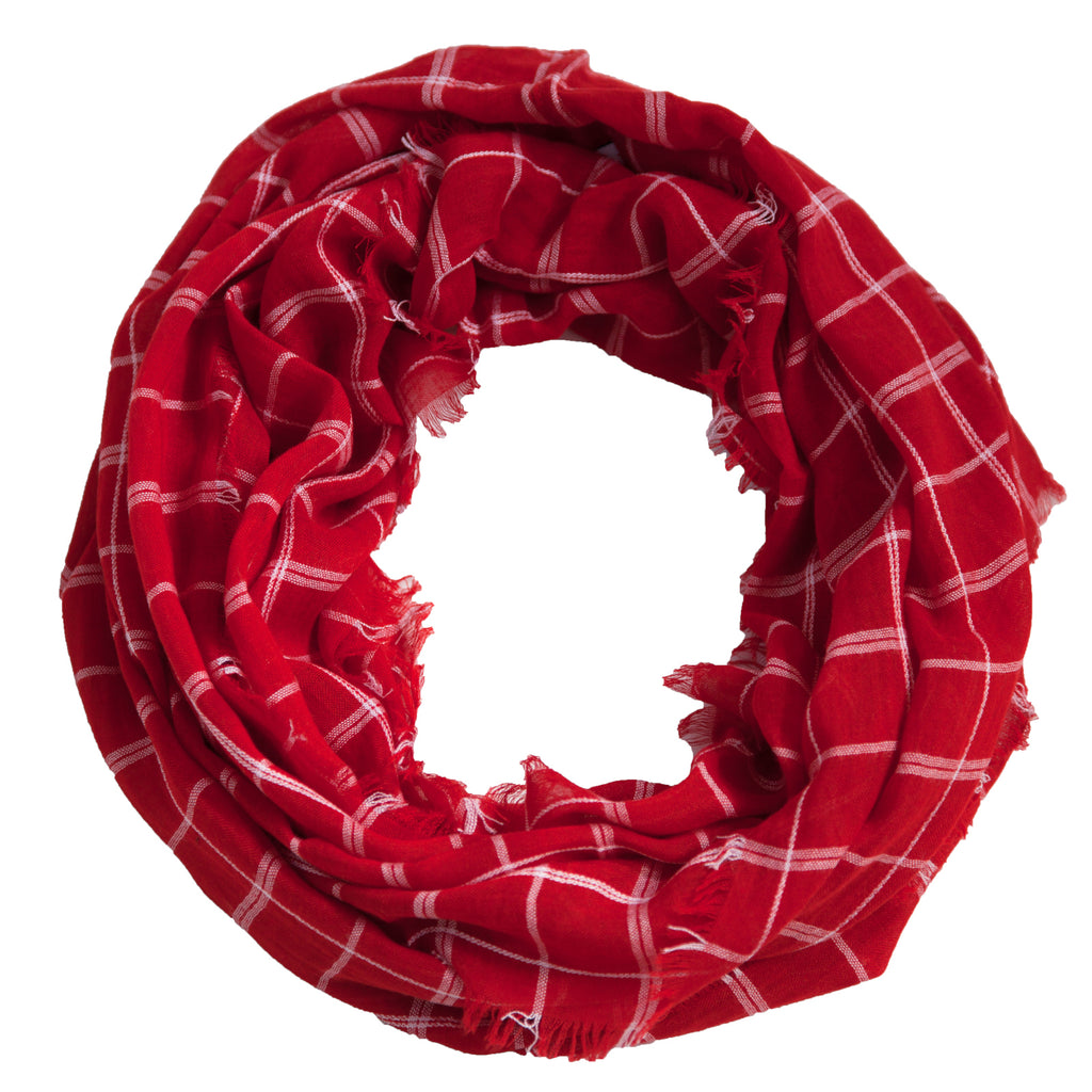 Lightweight Plaid Infinity - Red