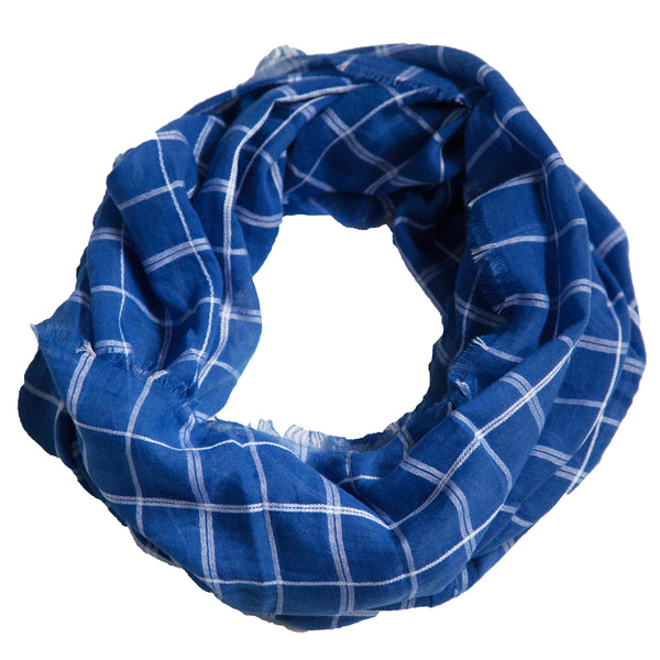 Lightweight Plaid Infinity - Royal Blue