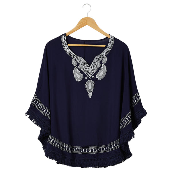 Embroidered Beach Poncho - Navy