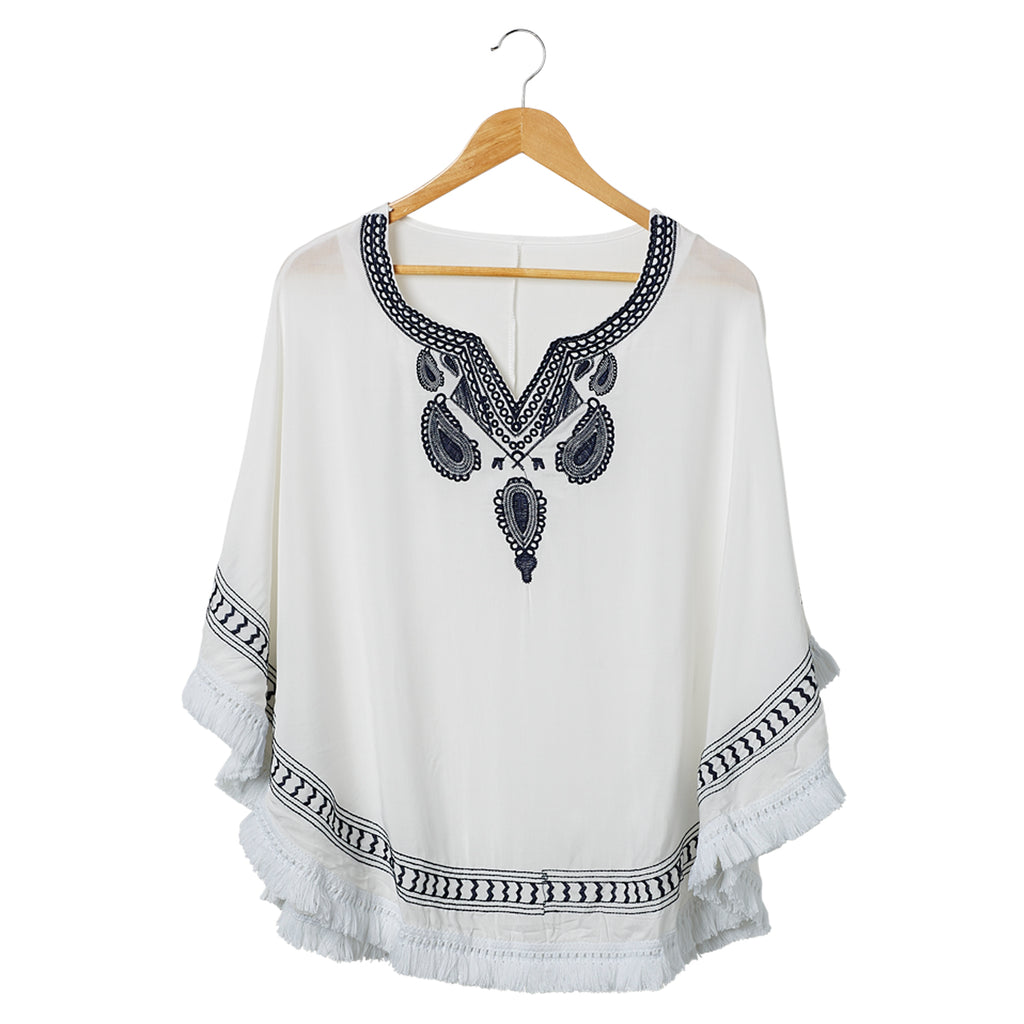 Embroidered Beach Poncho - White