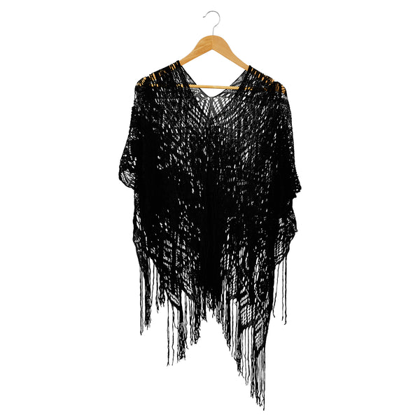 Cora Fringed Poncho - Black