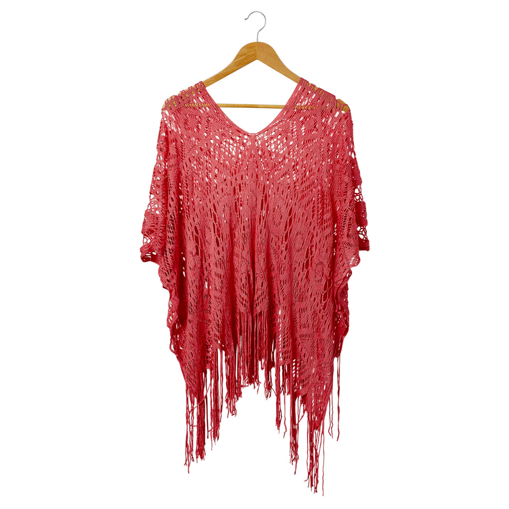 Cora Fringed Poncho - Coral
