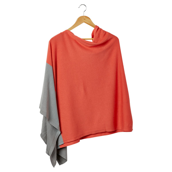 Color Block Cotton Poncho - Coral