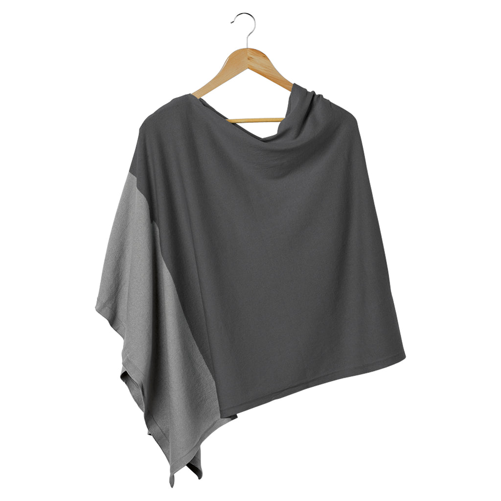 Color Block Cotton Poncho - Gray