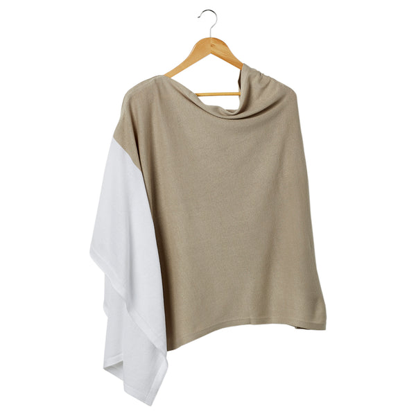 Color Block Cotton Poncho - Beige