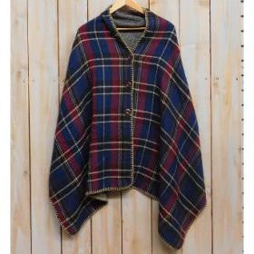 Plaid Poncho with Buttons - Navy