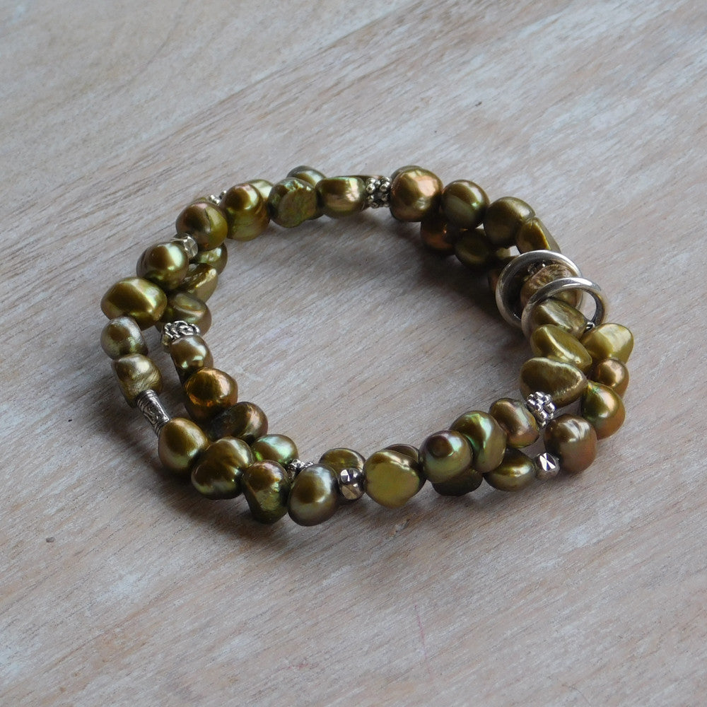 Pearl Stretch Bracelet - Green