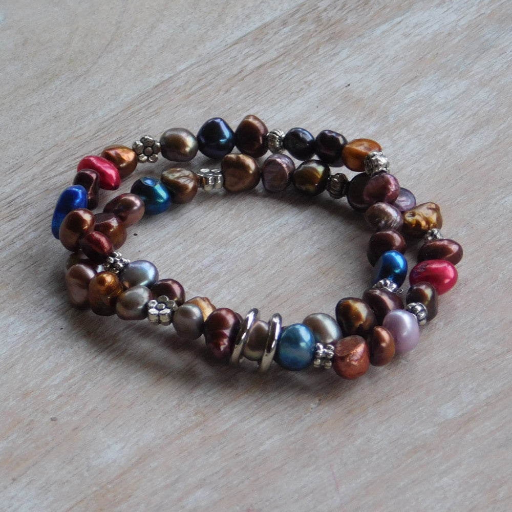 Pearl Stretch Bracelet - Multi Blue