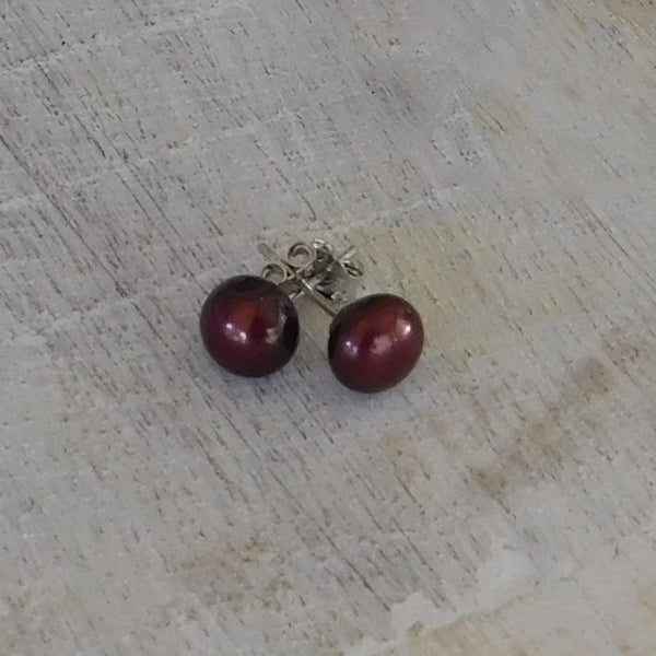 Pearl Stud Earrings - Merlot