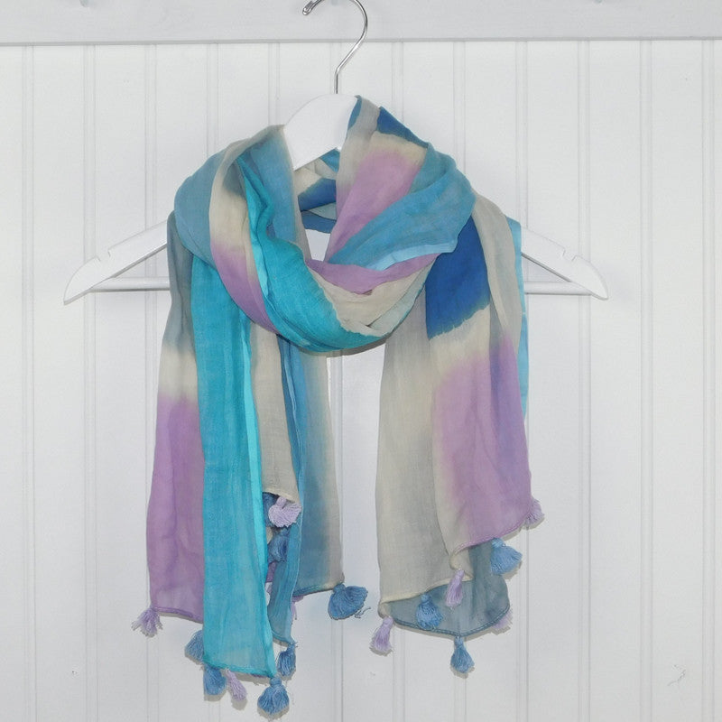 Painted Squares Scarf - Blue