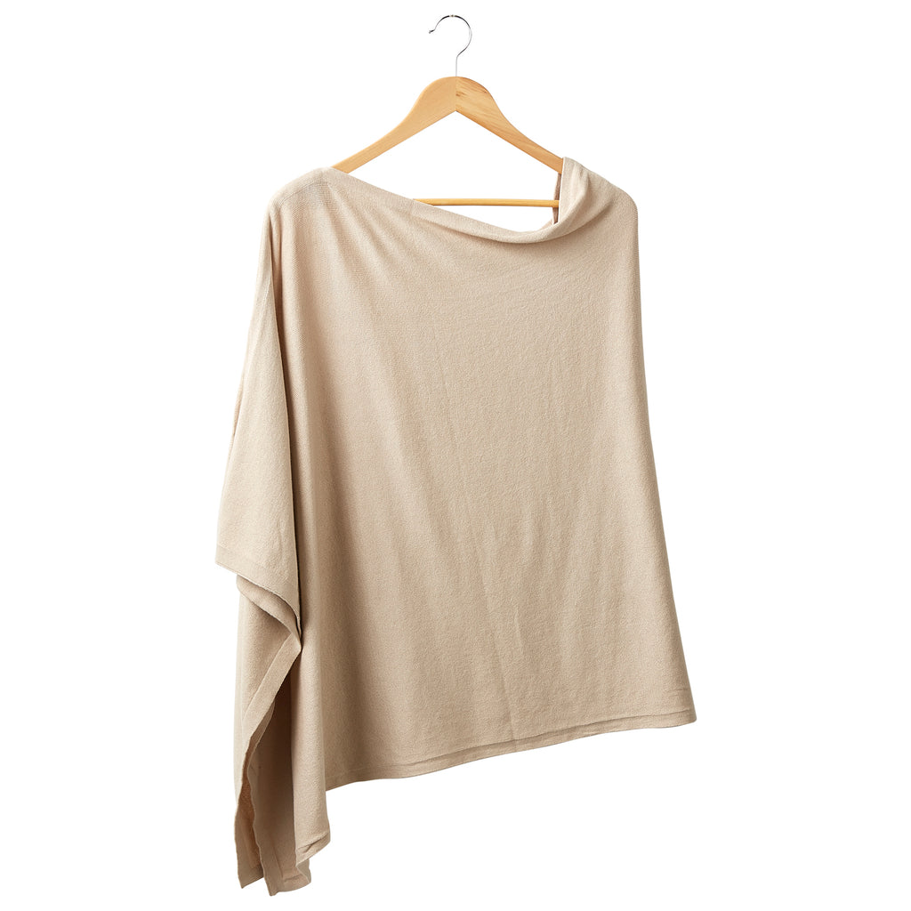 Elegant Solid Cotton Poncho - Beige
