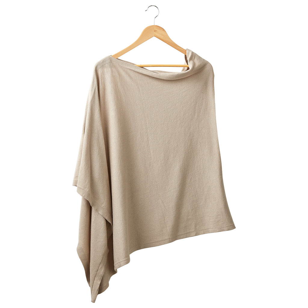 Solid Cotton Poncho - Light Brown