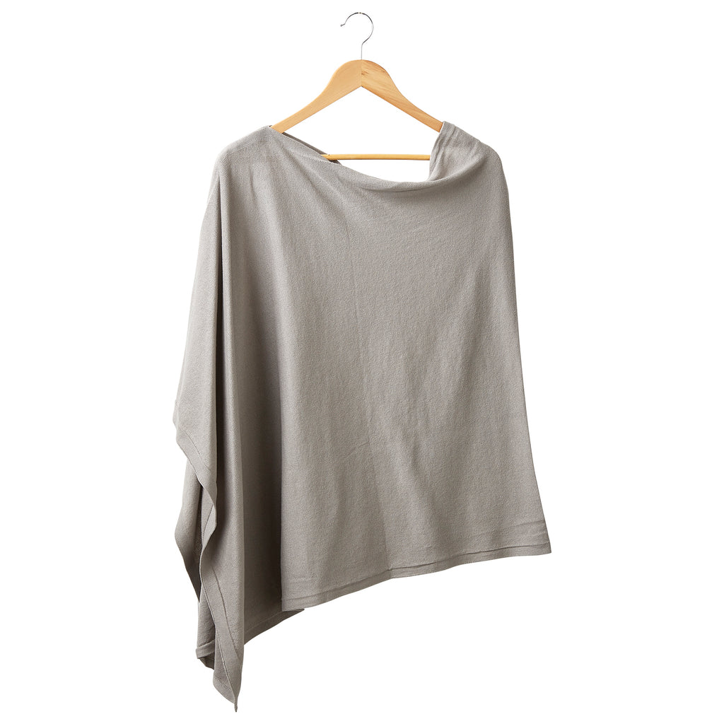 Solid Cotton Poncho - Light Gray