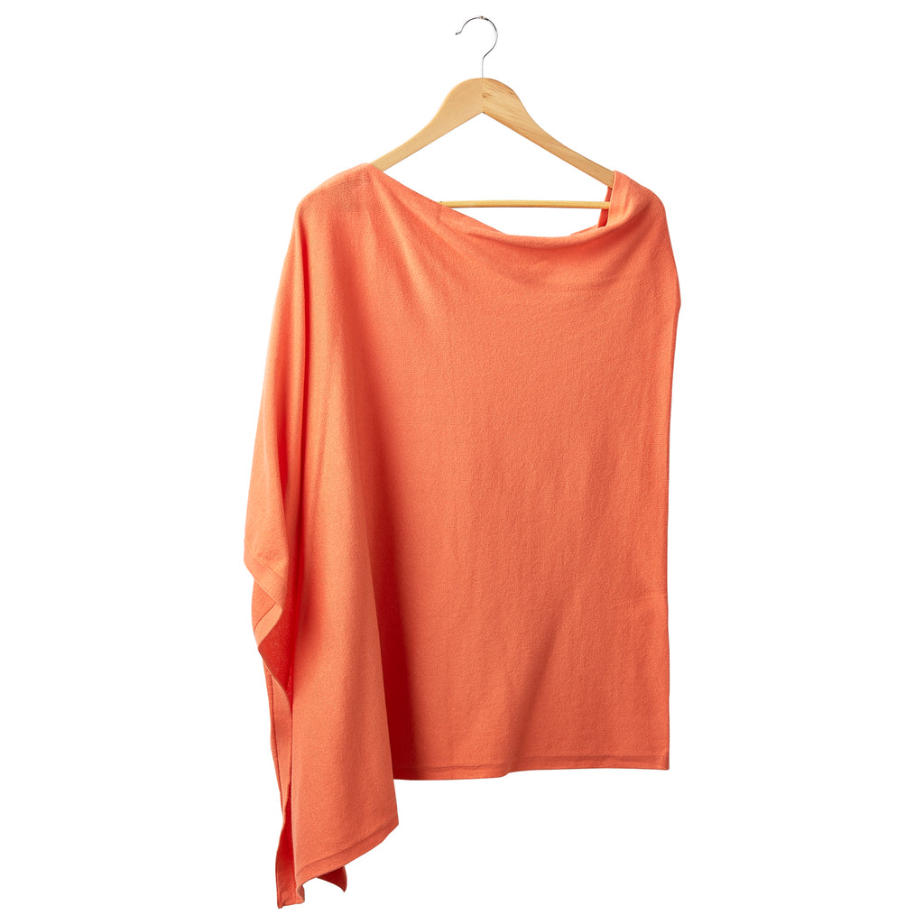 Elegant Solid Cotton Poncho - Orange