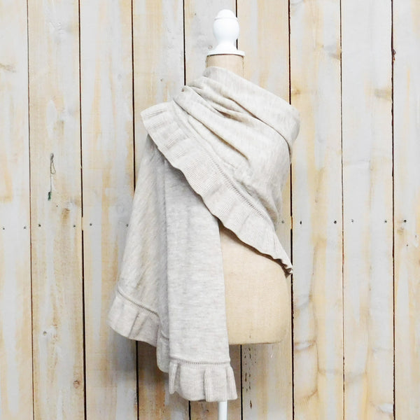 Frilled Wool Shawl - Beige