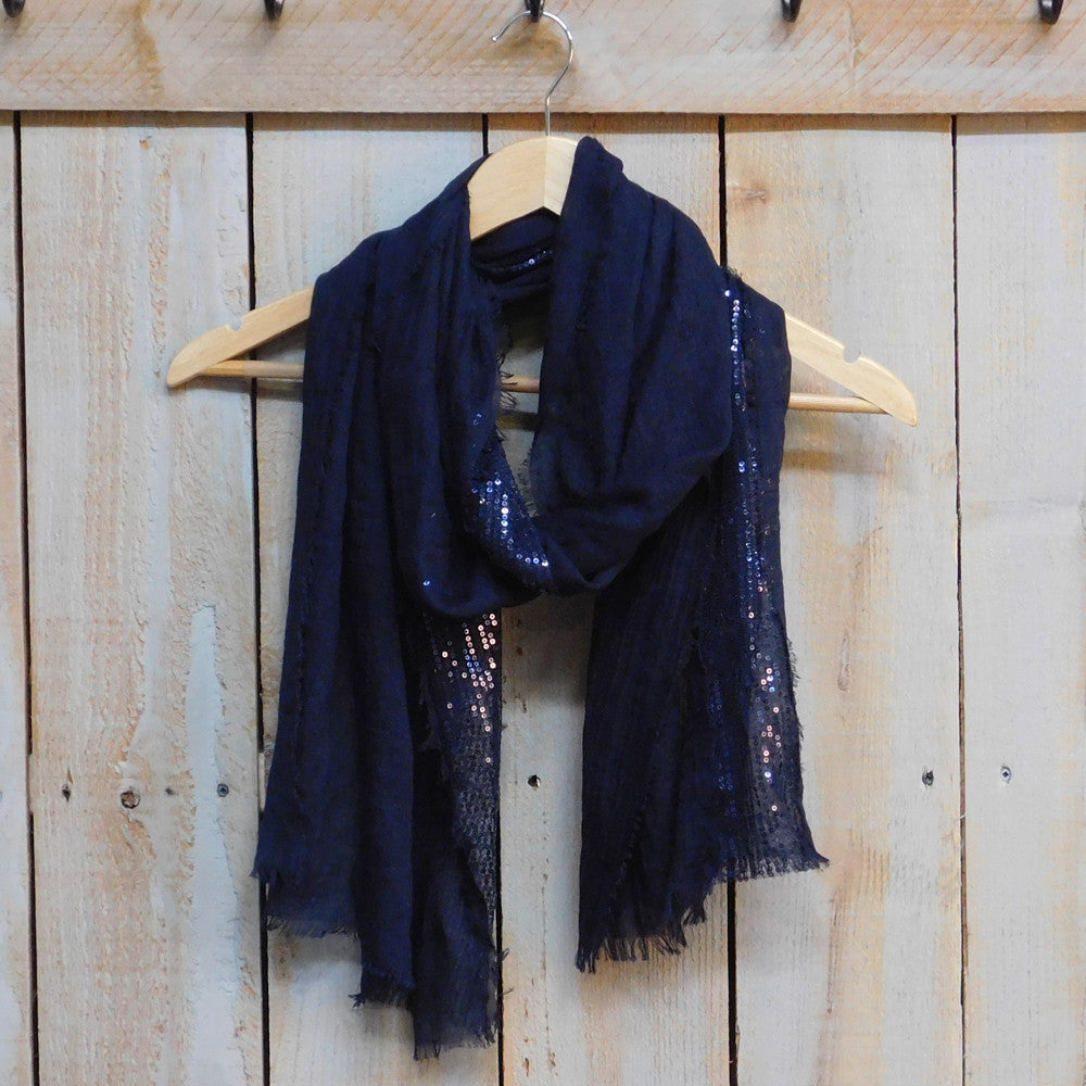 Feather Fringed Sparkle Stripe - Navy