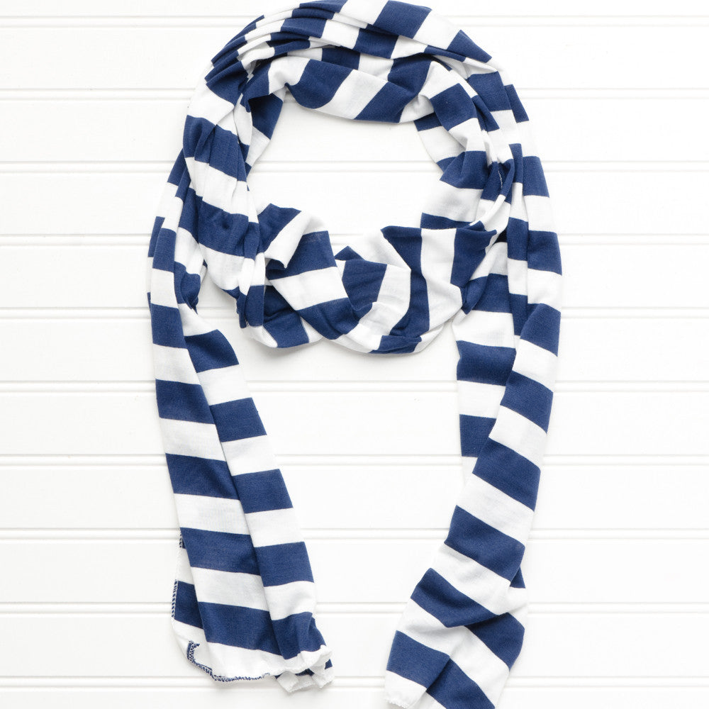 Jersey Striped Scarf - Navy - White