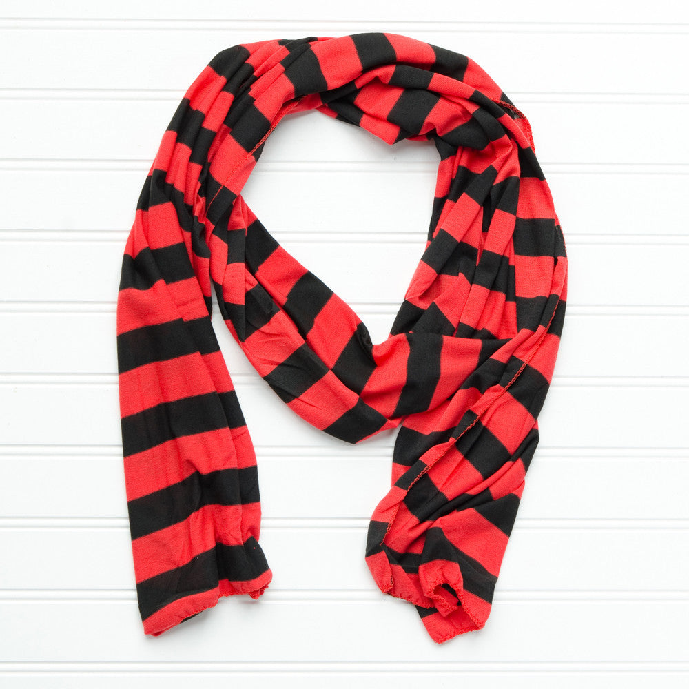Jersey Striped Scarf - Red - Black