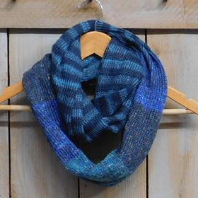 Knit Stripes and Blocks Infinity - Blue