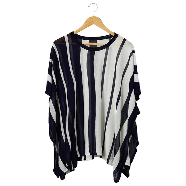 Stanton Striped Poncho - Black/White