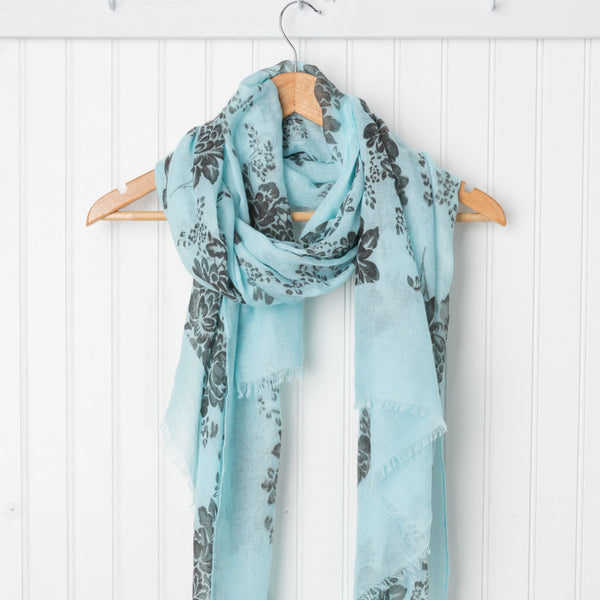 Vintage Floral Print Scarf - Light Blue