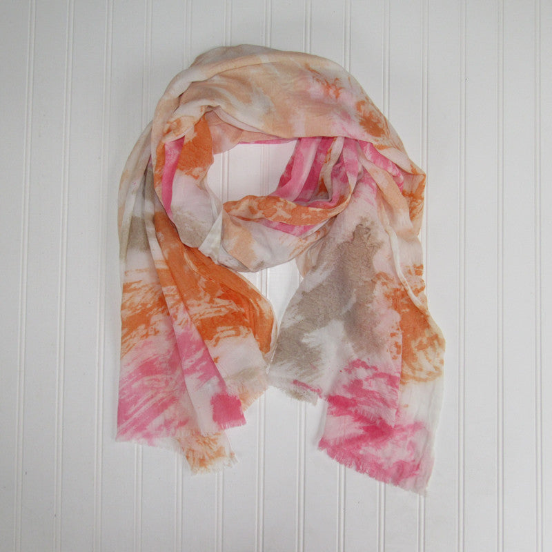 Vibrant Watercolor Scarf - Orange