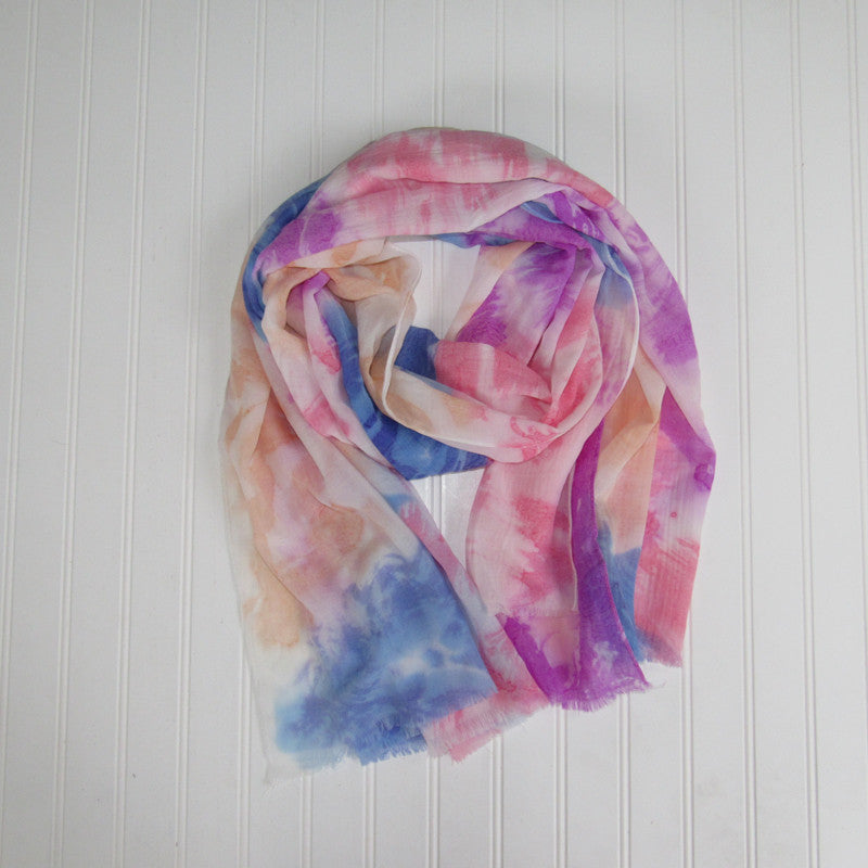 Vibrant Watercolor Scarf - Purple