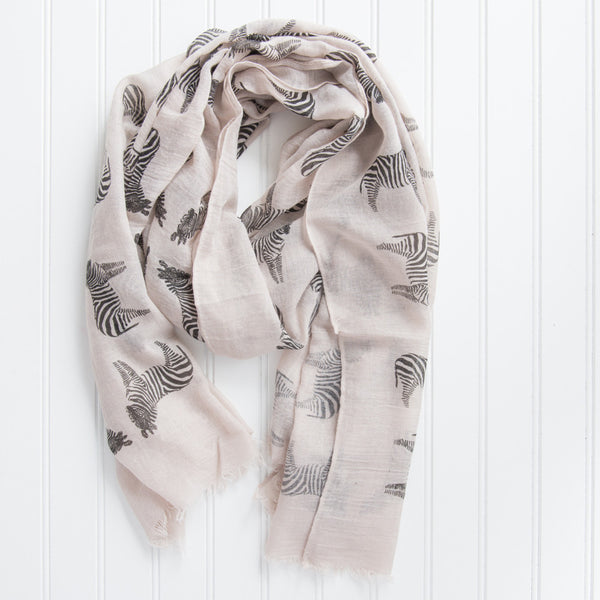 Fun Cotton Zebras Scarf - Black
