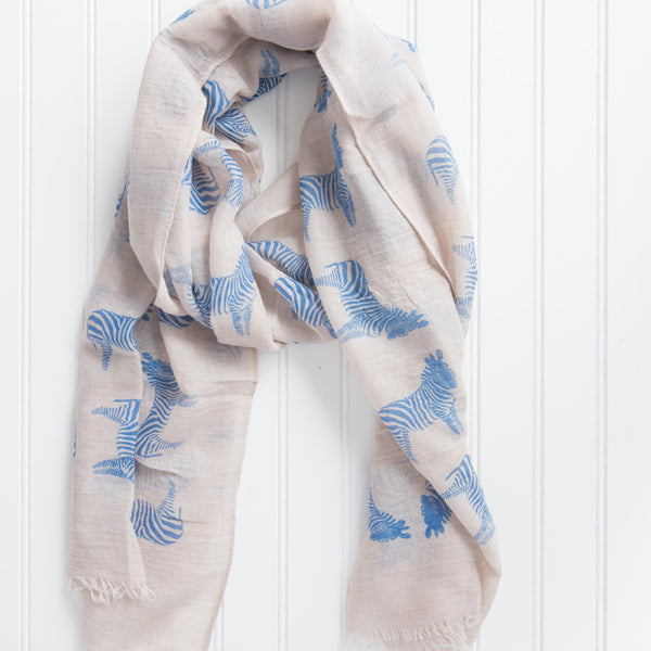 Fun Cotton Zebras Scarf - Blue