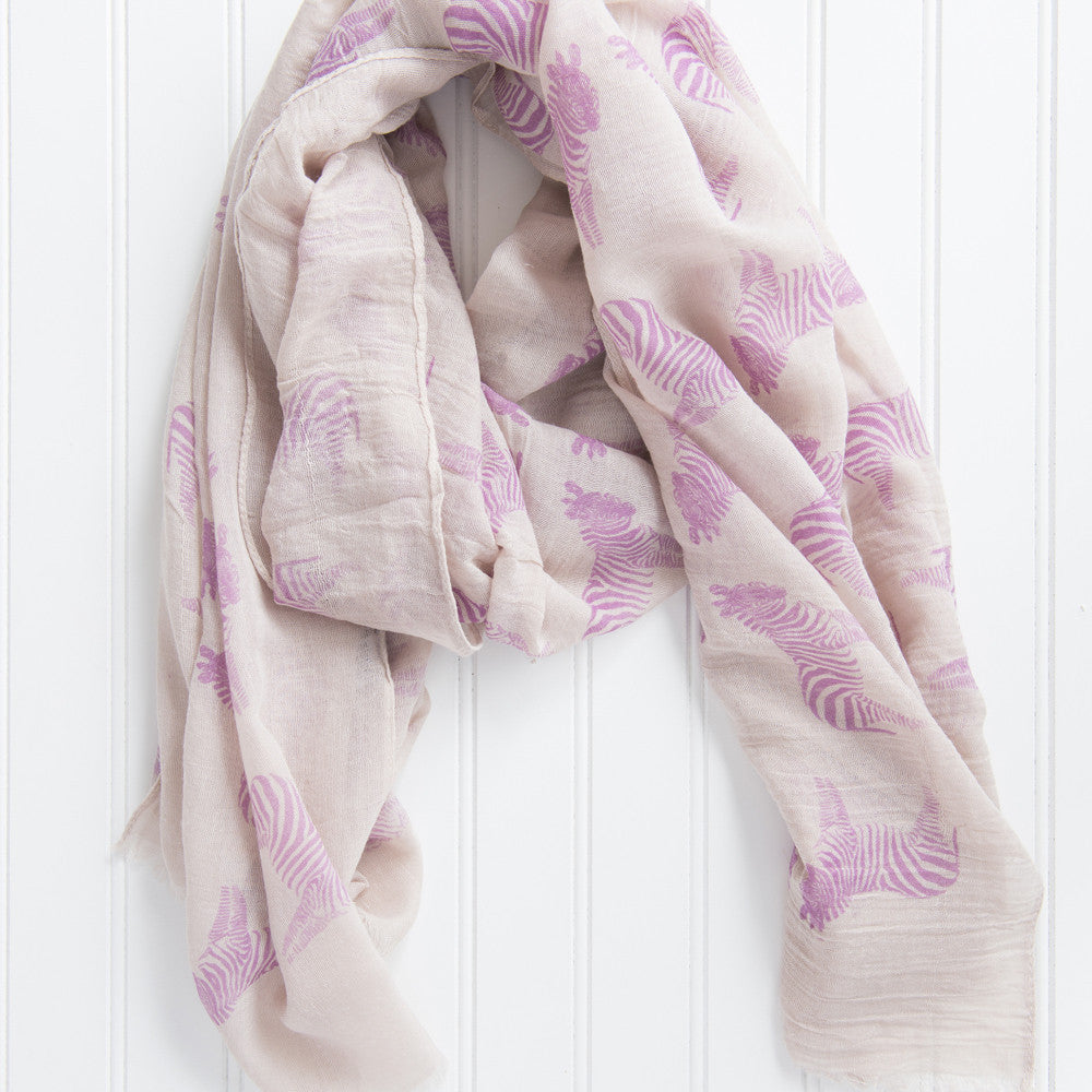 Fun Cotton Zebras Scarf - Purple