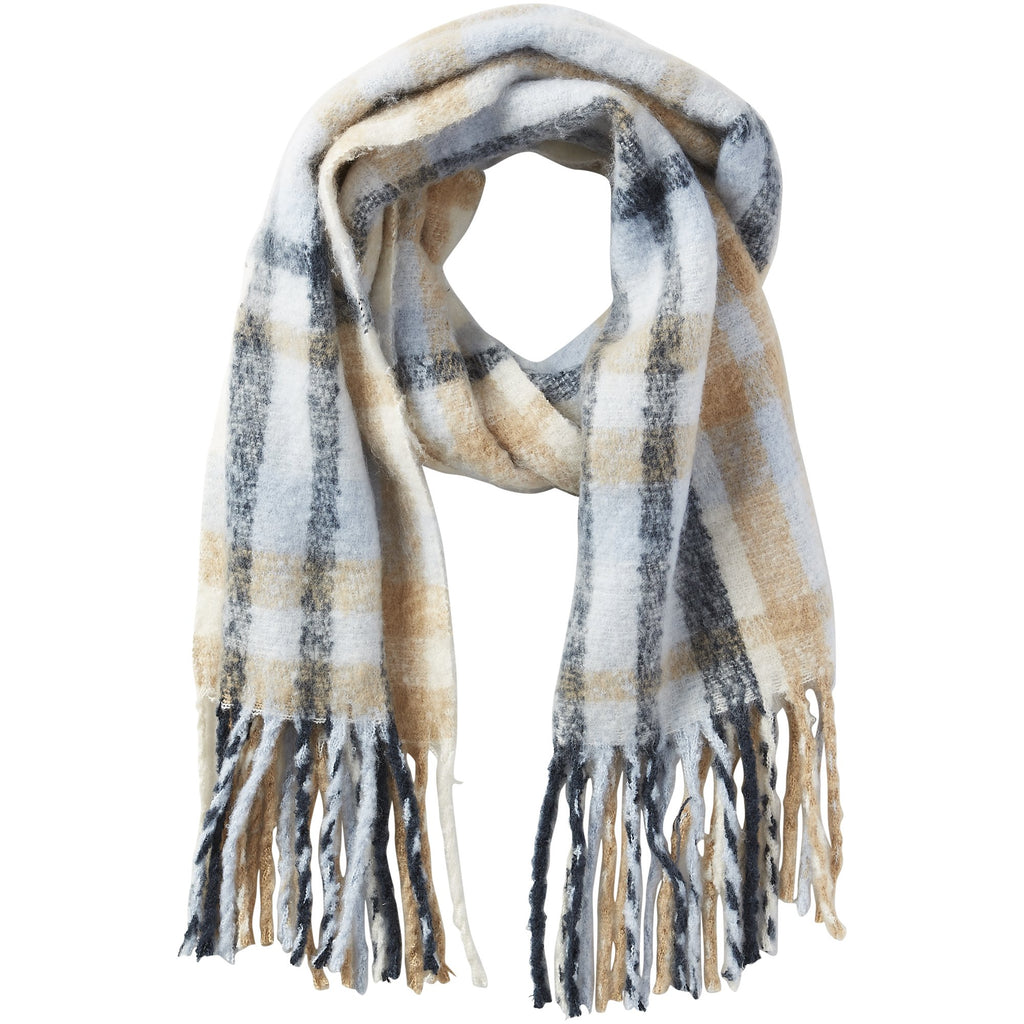 North Plaid Fuzzy Fringe Scarf - Blue