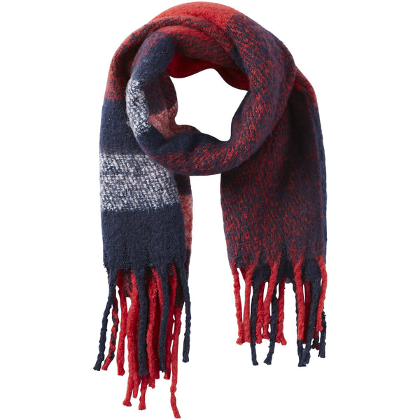North Plaid Fuzzy Fringe Scarf - Red