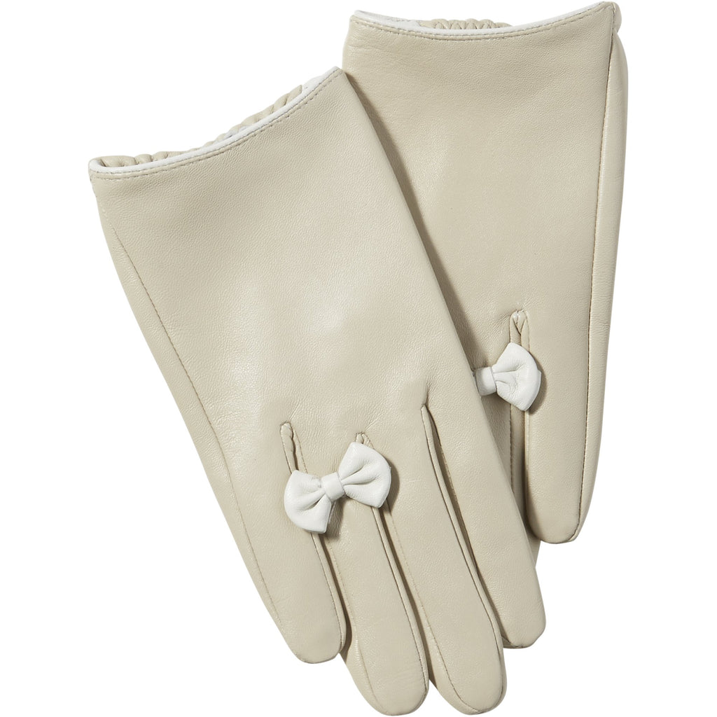 Beige Petite Bow Leather Gloves