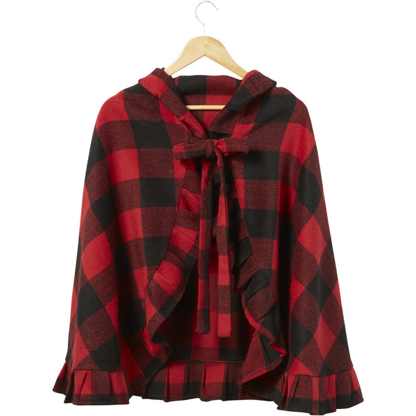 Red & Black Little Red Ruffle Cape