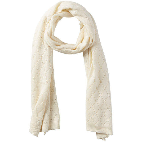 Catherine Diamond Knit Scarf - Cream