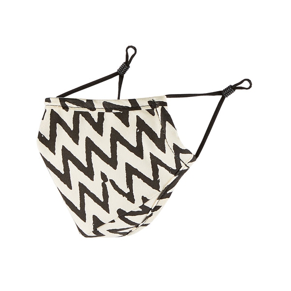 Cloth Face Mask - Black & White Chevron