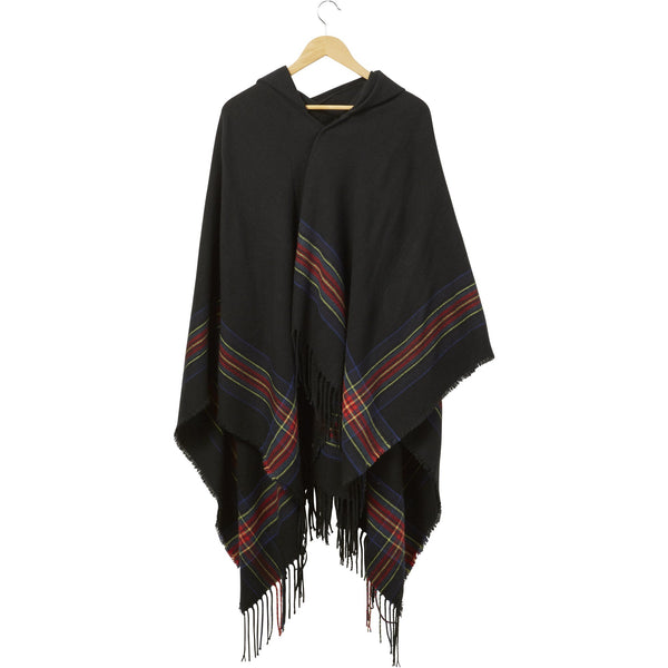 Black Hooded Tartan Plaid Ruana