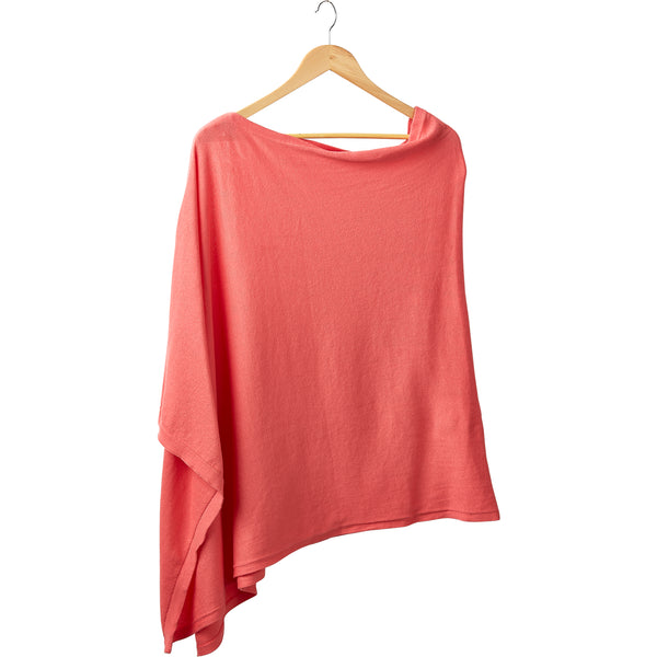 Solid Cotton Poncho - Coral